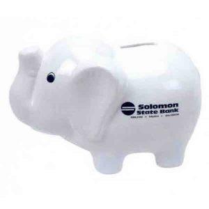 White Ceramic Elephant Bank