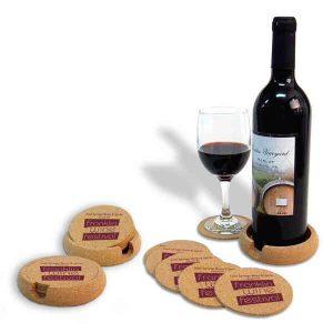 Natural Cork Coaster and Wine Bottle Holder Set