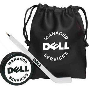 Hockey Fan Kit with Puck, Hockey Stick Pen and Drawstring Bag