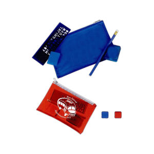 Company logo printed School kit with pencil sharpener, eraser, stencil ruler, pencil in zipper pouch.