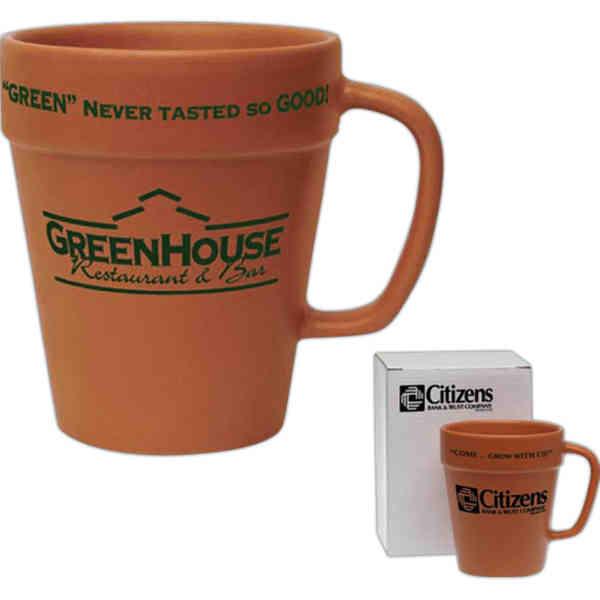 Ceramic Terracotta Flower Pot Shape Coffee Mug