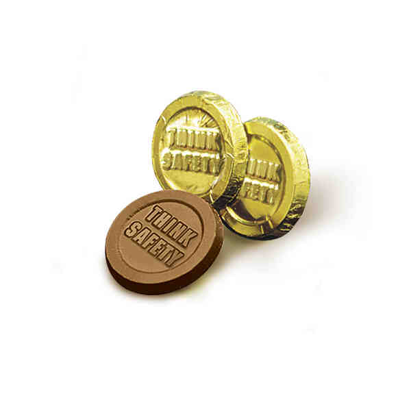 Think Safety Chocolate Gold Coins Promotional Product