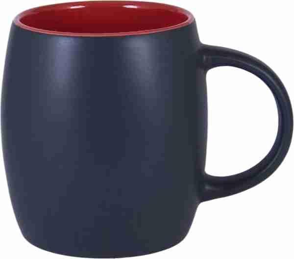 14 Oz Matte Black Outside Amp Red Inside Mug Promotional
