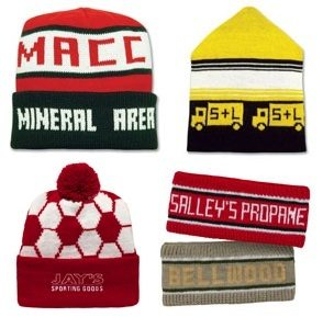 390fc3f7302 Custom Knit In Caps   Hats   Earbands   Scarf - Woven Designs -  ImprintItems.com Custom Printed Promotional Products