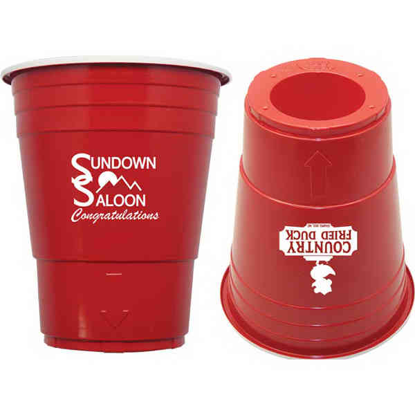Plastic Party Cup With Shot Glass Bottom Inspired By Red
