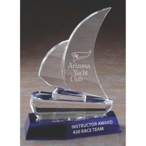 Optic Crystal Sailboat Award Trophy