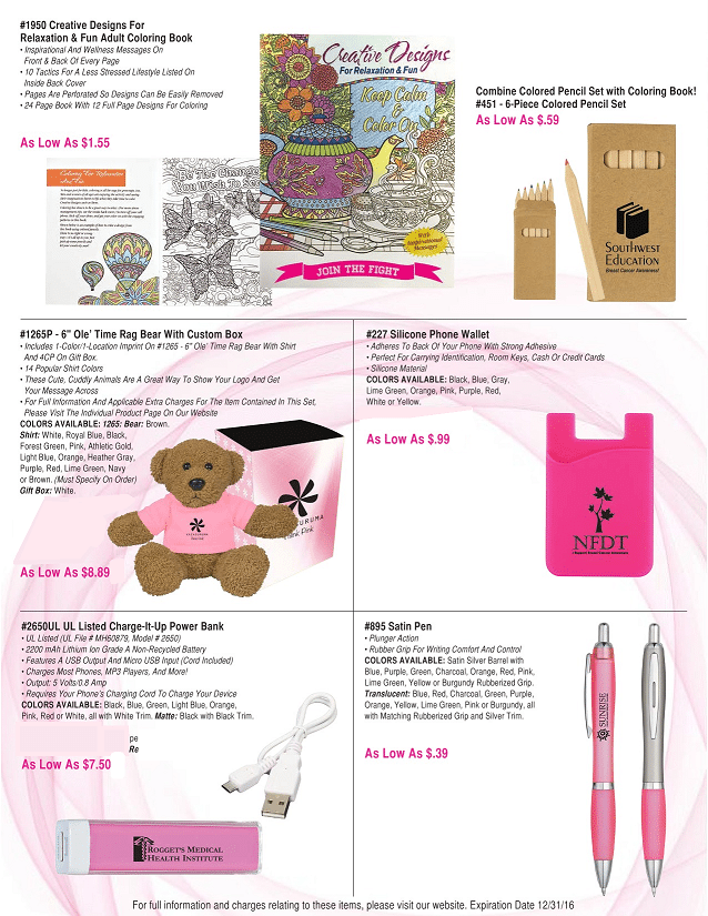 Pink Breast Cancer Awareness Month Items | Promotional