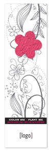 Pink Seed Paper Flower on Coloring Bookmark