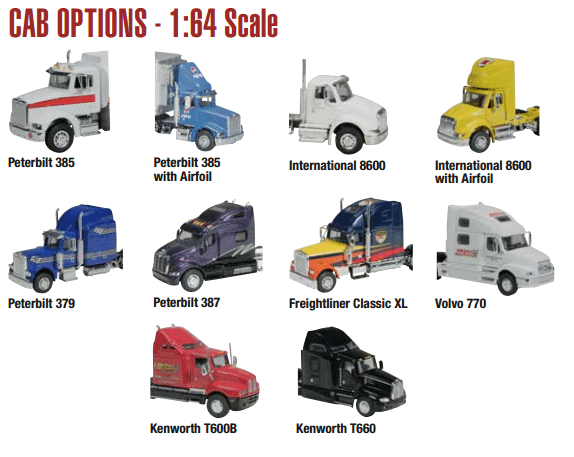 1:64 Scale Die Cast Trucks, Semis, and Tractor Trailers w