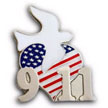 911 September 11th pin with heart, dove and US Flag design