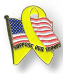 United States Flag Support Troops Yellow Ribbon Pins