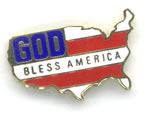 God Bless America Country Outline pins
