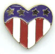 American Flag motif Heart Shaped Tie Tacks