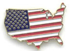 United States Map Outline Flag Lapel Pins
