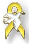 Yellow Ribbon Pin with Dove Pins