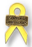Yellow Ribbon awareness Pin with words support our troops