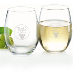 Smooth Stemless Wine Glass - White