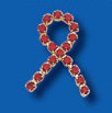 Red Rhinestone Ribbon Pin