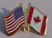 US and Canada Flags Lapel Pin