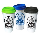 Double-wall 16 oz Plastic Mugs w/ Silicone Lid