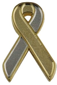 lapel pin, ribbon, loop, awareness, Gold over Silver Metal Lapel Pin