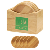 5 Piece Bamboo Coaster Set With Coaster Stand