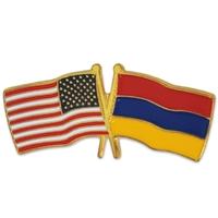 USA & Armenia Crossed Flag Pin