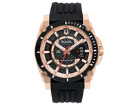 98B152Bulova Watch, Men's Precisionist Black Silicone Strap