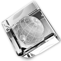 Standing Crystal Cube w/ 3-D Globe