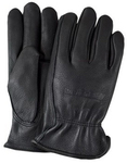 Winter Lined Black Cowhide Leather Gloves