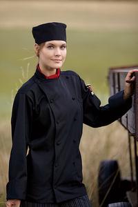 Cool Mesh Panel Long Sleeved Chef Coat - Black