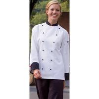Black Trim and Stud Button Executive Chef Coat