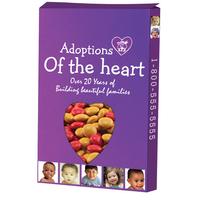 Custom Window Heart Box filled w/ Corporate Color Chocolates