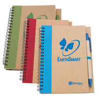 Spiral bound notebook and pen made of recycled cardboard