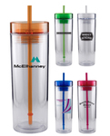 16 oz. Clear Travel Tumbler With Color Trim And Color Straw