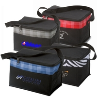 Poly 6 Can Zebra Plaid Fashion Cooler Lunch Bag