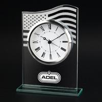 US American Flag Glass Clock