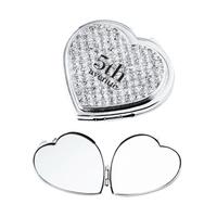 Heart Glitter Stone Compact Mirror