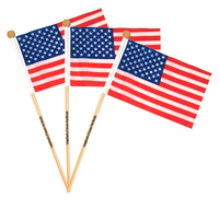 "USA American Flag With Wooden Pole- 12"" x 18"""