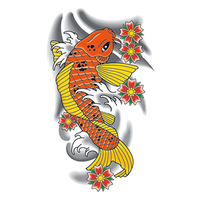 Traditional Orange Koi Fish Temporary Tattoo