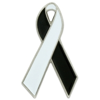 White and Black Awareness Ribbon Pin