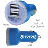 Superior USB Dual Port Car Chargers E800 BLUE