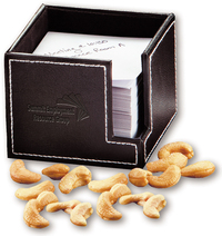 Faux Leather Note Holder with Fancy Jumbo Cashews