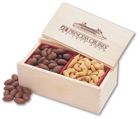 Chocolate Almonds & Cashews in Wooden Collector's Box