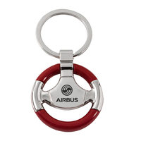 Wood Trim Steering Wheel Keychain