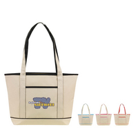 NATURAL WITH COLOR TRIM TOTE-Full color process