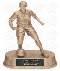 7 3/4 inch Antique Gold Female Soccer Resin