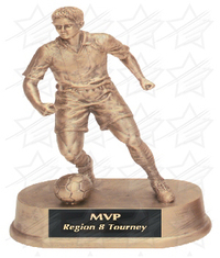 7 3/4 inch Antique Gold Male Soccer Resin