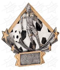4 1/4 x 6 1/4 Female Soccer Diamond Star Resin