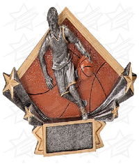 4 1/4 x 6 1/4 Male Basketball Diamond Star Resin